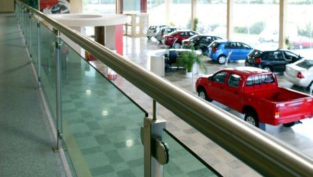 handrails in a showroom