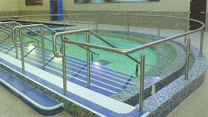 Stainless steel Handrails in a swimming pool